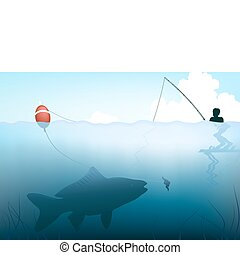 Fishing - Editable vector illustration of a fish about to...