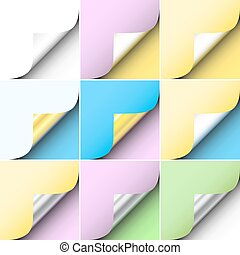 Paper corners - Set of editable vector peeling corners of...