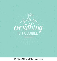 Vector illustration with hand-lettering phrase in linear...