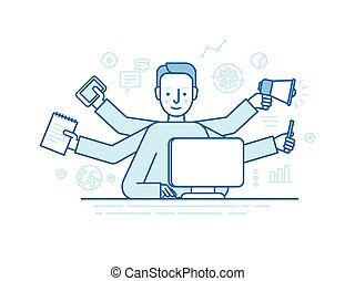 Vector self employment concept in trendy flat linear style - multitasking freelancer