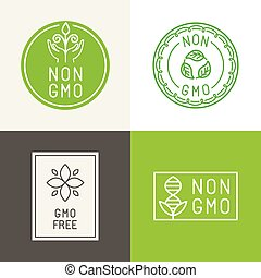 Non gmo natural ingridients labels and emblems - Vector set...