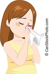 Pregnant Woman Flu - Young pregnant woman with flu sneezing...