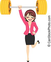 Strong Powerful Businesswoman - Happy young strong super...