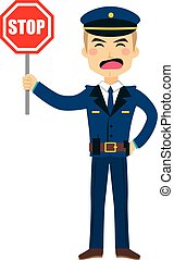 Policeman Stop Sign - Illustration of a policeman holding...