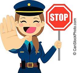 mujer policía, parada, señal