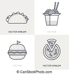Vector set of logo design templates and emblems - fast food...