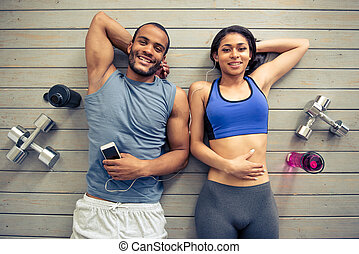Afro American couple working out - Top view of beautiful...
