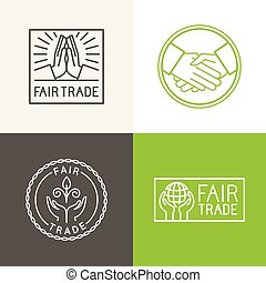 Vector set of badges and labels in trendy linear style -...