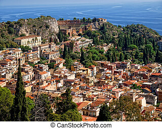 Top view of attractive town Taormina, Sicilia, Italy located...