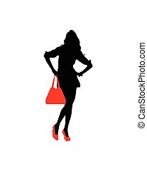 Silhouette of a lady with red shoes and handbags
