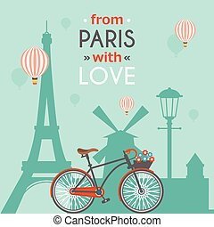 Paris Post Card - Light blue paris post card with...