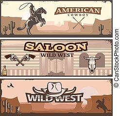 Wild West Banner Set - Three horizontal wild west banner set...