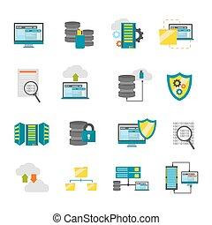 Flat Datacenter Icon Set - Colored isolated flat datacenter...