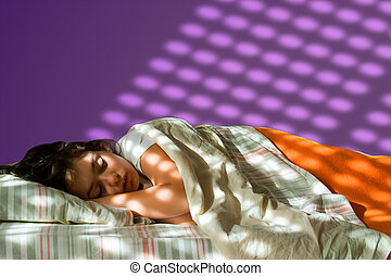 Sleeping girl - Young girl sleeping in her bed, with...
