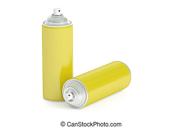 yellow spray paint cans, 3D rendering