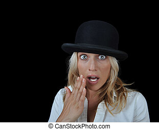 Beautiful surprised blonde woman wearing a hat.