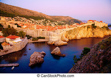 Dubrovnik - View of an old city of Dubrovnik and the city...