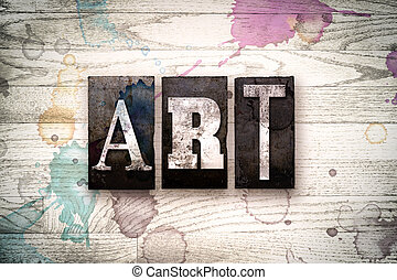 芸術, 概念, 金属, 凸版印刷, タイプ