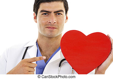 Doctor - Stock image of Doctor pointing at red heart shape