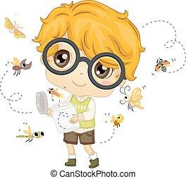 Ciencia, insecto, niño, tarro, niño