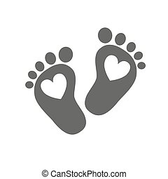 Baby footprints - vector illustration. - Simple baby...