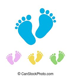 Baby footprints - vector illustration. - Set of the baby...