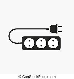 Extension cord - vector illustration Icon of power extension...