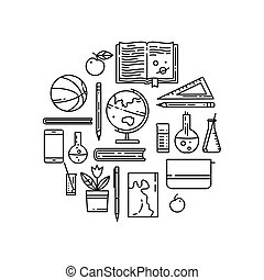 School flat line vector icons in round composition.