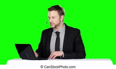 Call center operator Green screen - Call center operator,...