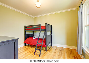 Empty boys bedroom with black bunk bed. - Empty boys bedroom...