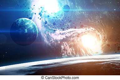Abstract scientific background - planets in space, nebula...