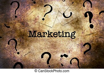 Marketing and question marks grunge concept