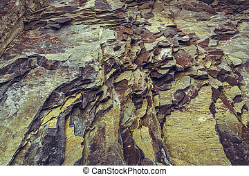Rock strata closeup - Ferruginous rock strata closeup. Rock...