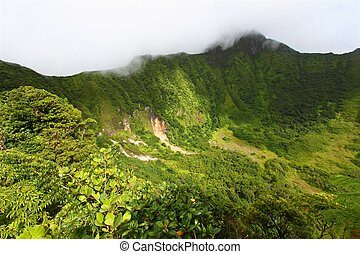 St Kitts Crater - The Crater below cloud covered Mount...