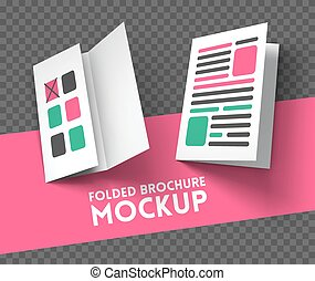 Trifold mockup on transparent background Vector Illustration...