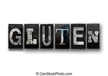 Gluten, conceito, isolado, Letterpress, tipo