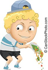 Kid Boy Throw Veggies - Illustration of a Little Boy...