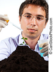 Botanical researcher - Researcher working in laboratory ,he...
