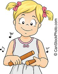 Kid Girl Claves Playing - Illustration of a Little Girl...
