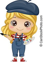 Kid Girl Painter - Illustration of a Little Girl Dressed as...