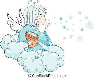 Kid Girl Snow Angel Blow - Illustration of a Snow Angel...
