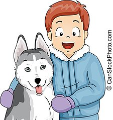 Kid Boy Pet Siberian Husky
