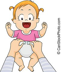 Kid Baby Girl Mom Change Diaper - Illustration of a Mother...
