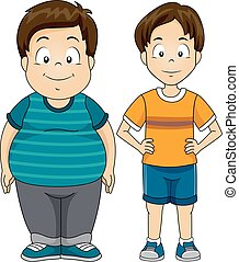 Kids Boys Fat Thin - Illustration Featuring a Fat and a...