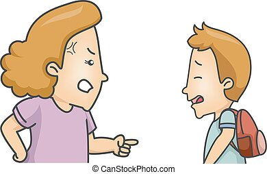 Kid Boy Student Scolded Mom - Illustration of a Little Boy...
