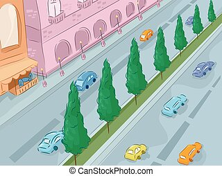 Urban Scene Road - Illustration of a City Street as Viewed...