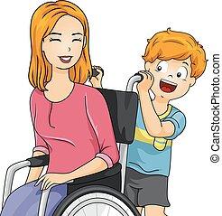 Kid Boy Mom Wheelchair - Illustration of a Little Boy...