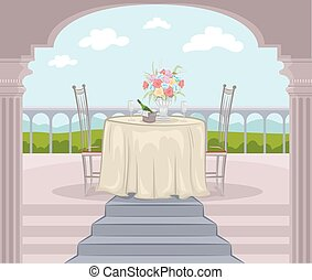 Outdoor Balcony Date - Illustration of a Balcony Prepared...