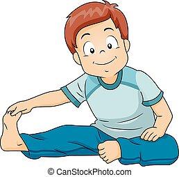 Kid Boy Stretching