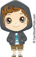 Kid Boy Hoodie - Illustration of a Little Boy Wearing a...